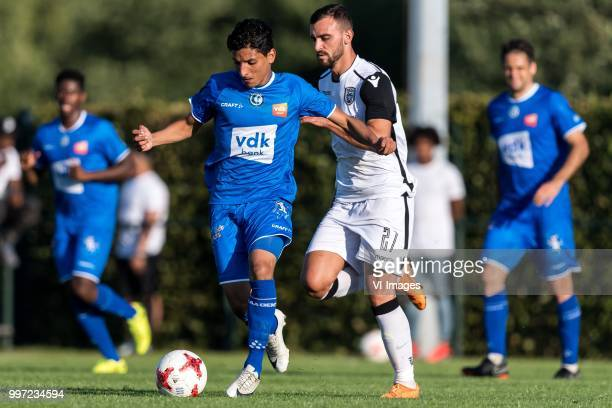 Mostafa Ahmed of KAA Gent Giannis Mystakidis of Paok Saloniki during the friendly match between PAOK Saloniki and KAA Gent at sportcomplex...