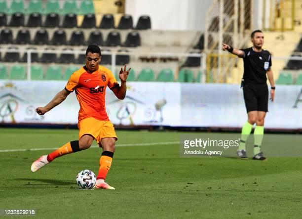 Mostafa Mohamed Ahmed Abdalla of Galatasaray shoots a penalty during the Turkish Super Lig week 41 match between Yukatel Denizlispor and Galatasaray...