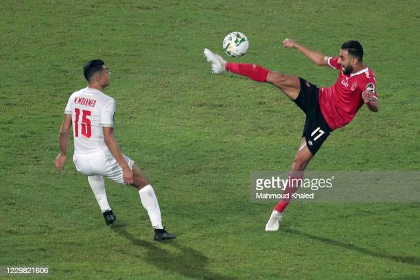 Mostafa Mohamed of Zamalek in action against Amro Elsulia of Al Ahly during CAF Champions League Final between Zamalek and Al Ahly at Cairo stadium...