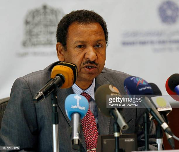 Mostafa Othman Esmaeel the advisor to Sudan's President Omar alBashir speaks to reporters during a press conference in Kuwait City on November 30 one...