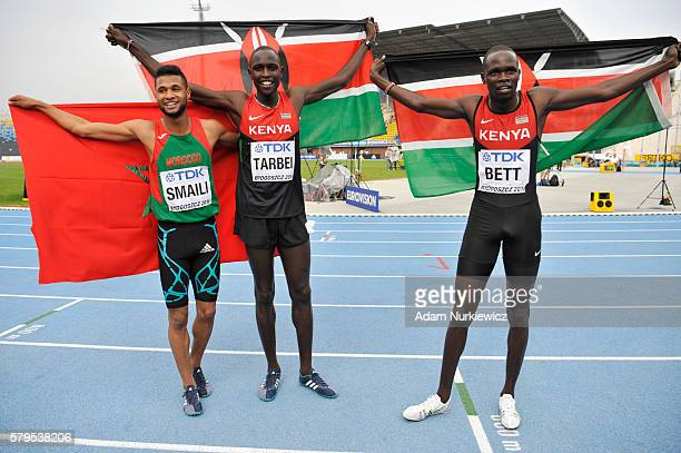 Mostafa Smaili from Morocco Willy Kiplimo Tarbei from Kenya and Kipyegon Bett from Kenya celebrate after men's 800 metres during the IAAF World U20...