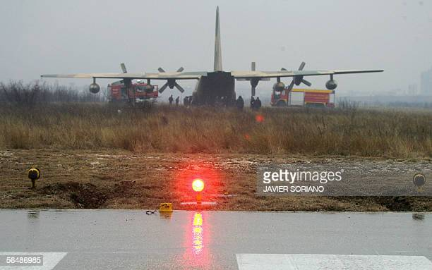 A Spanish airforce Hercules C130 carrying Spanish Defence minister Jose Bono is seen after it veered off the runway as it was landing 25 December...