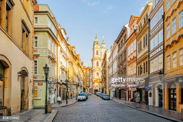 mostecka street in the moring, mala strana, prague, czech republic - international landmark stock pictures, royalty-free photos & images