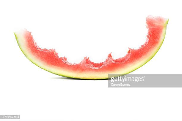 mostly eaten melon - watermelon stock pictures, royalty-free photos & images