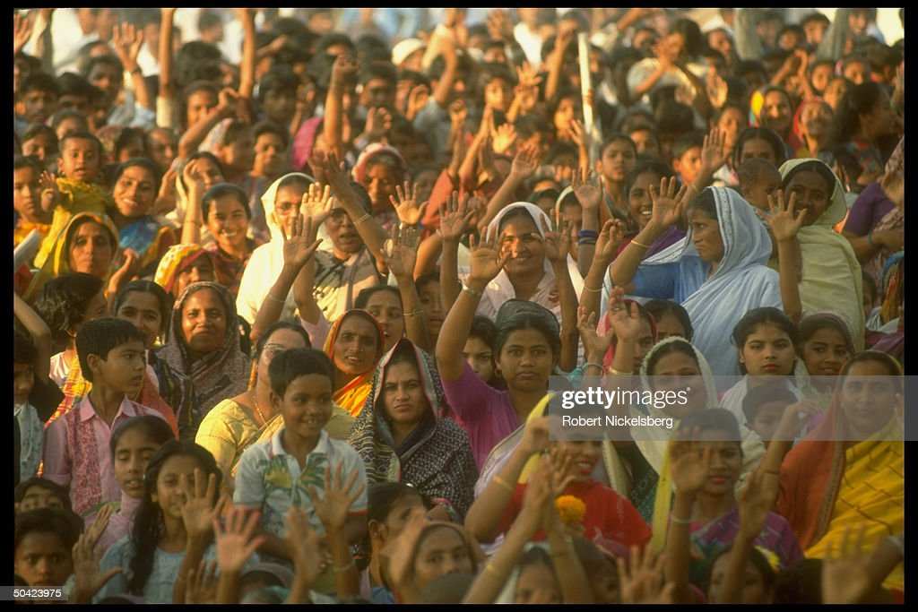 Mostly female crowd during election camp : News Photo