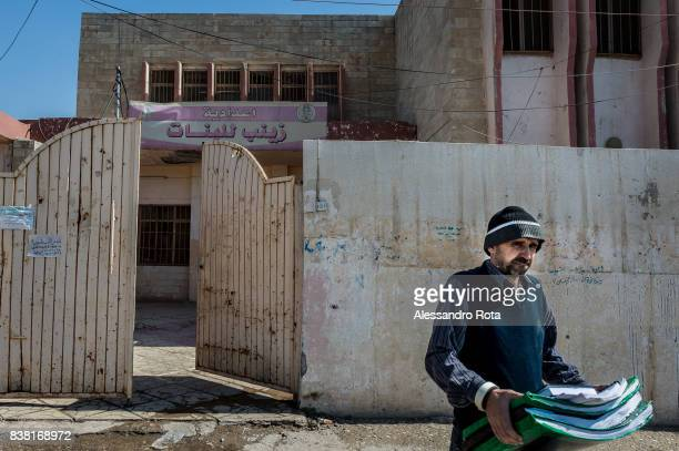 IRAQ Mosul East 14 Mar 2017 Madasa Zainab school for girls Mrs Fautha is the headmaster and explain that the school stayed open during ISIS/Daesh...