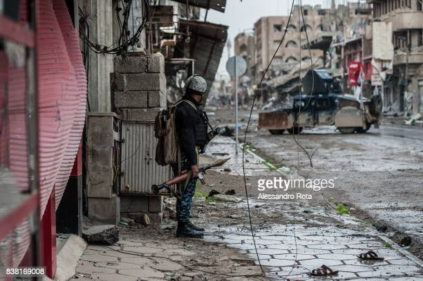 IRAQ Mosul West 13 Mar 2017 A Federal police fighter is seen with an RPG while looking at ISIS/Daesh positions during a media visit to the frontline...
