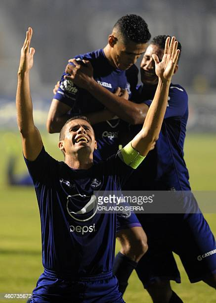 Motagua's player celebrate winning the Champion Cup of the Apertura tournament 20142015 of the Honduras soccer in Tegucigalpa on December 20 2014 AFP...