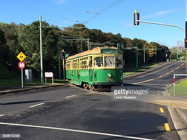 Motat Tram crossing road at traffic lights near Auckland zoo New Zealand
