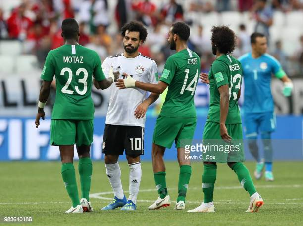 Motaz Hawsawi of Saudi Arabia greets Mohamed Salah of Egypt after the 2018 FIFA World Cup Russia group A match between Saudia Arabia and Egypt at...
