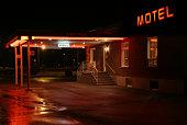 Motel entrance at night