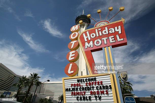 Motel sign and Stratosphere tower, Las Vegas