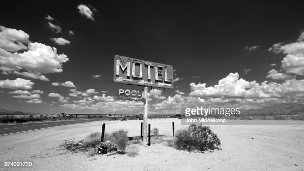 motel sign, nevada, usa - tumbleweed stock photos and pictures