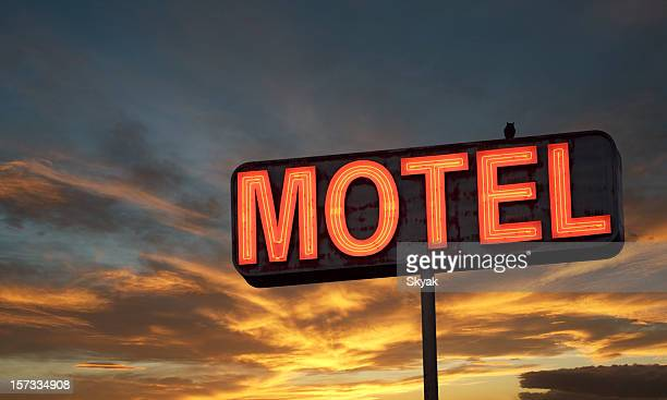 Motel sign sunset