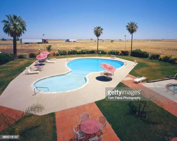 Motel swimming pool near freeway