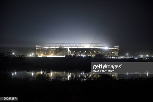 Motera Cricket Stadium also known as Sardar Patel Stadium is reflected on the surface of Sabarmati River on the outskirts of Ahmedabad on February 15...
