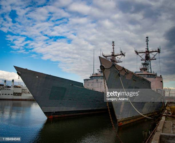 mothballed fleet at the philadelphia navy yard - military ship stock pictures, royalty-free photos & images