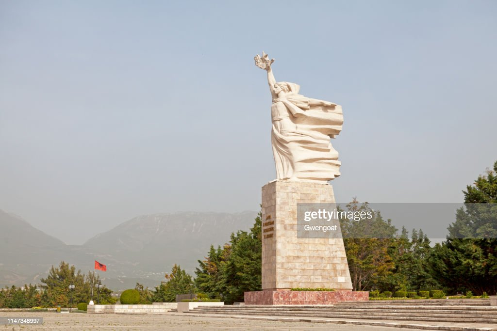 Mother Albania statue in Tirana : Stock Photo
