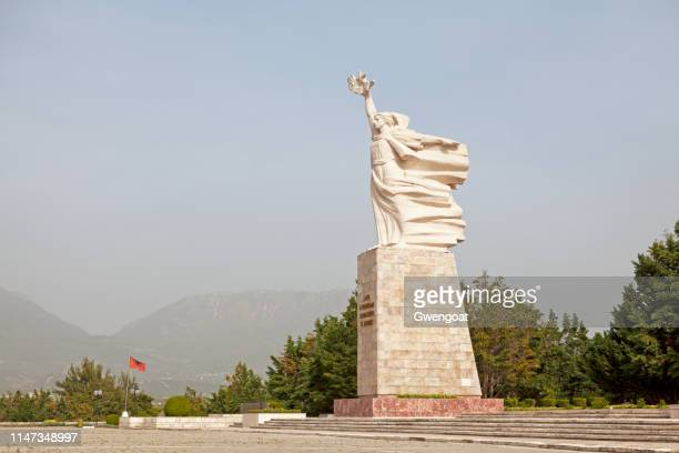 mother albania statue in tirana - tirana stock pictures, royalty-free photos & images