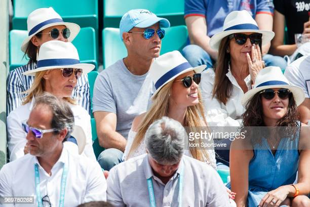 NADAL mother Ana Maria Parera sister Maria Isabel Nadal and girlfriend Xisca Perello during day twelve match of the 2018 French Open 2018 on June 7...