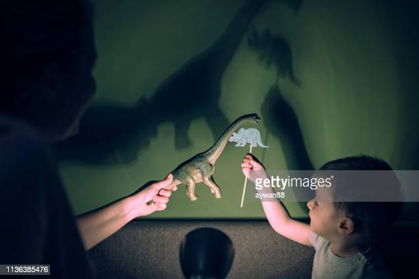 Mother and adorable son playing with shadows