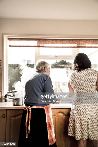 mother and adult daughter washing dishes together - norman elder stock photos and pictures