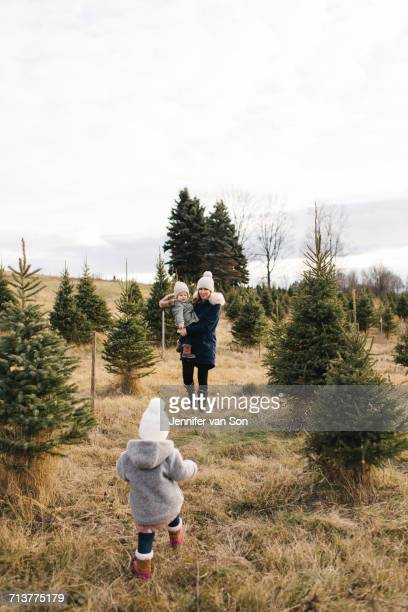 Mother and baby girls in Christmas tree farm, Cobourg, Ontario, Canada
