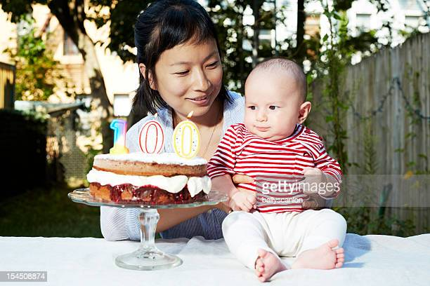 Mother and child celebrate 100 day birthday
