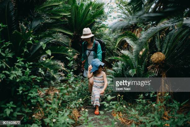 Mother and child hiking in jungle of Sago palm trees, Japan