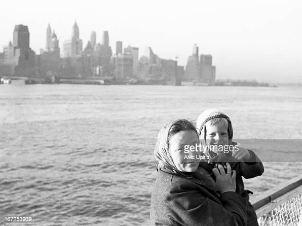 Mother and child immigrants arrive in NY Harbor