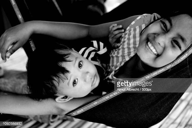 mother and child in a hammock