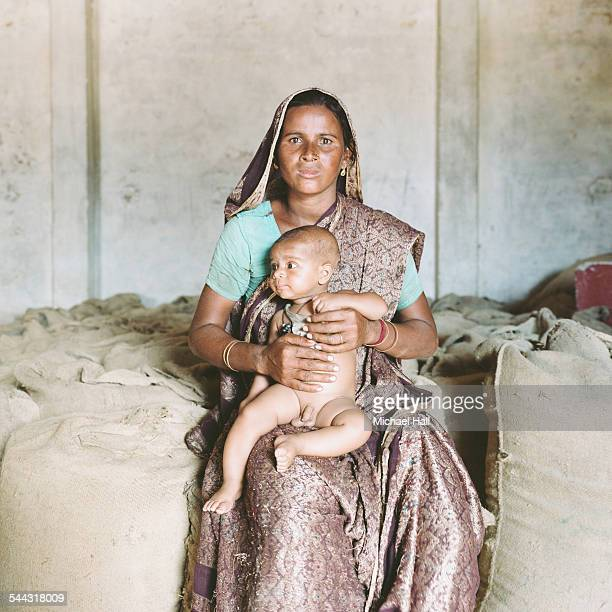 Mother and child in rice store