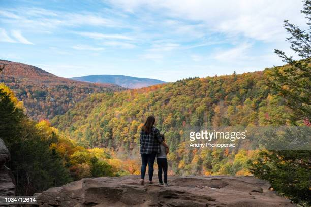 mother and child looking at colorful autumn trees - state park stock pictures, royalty-free photos & images