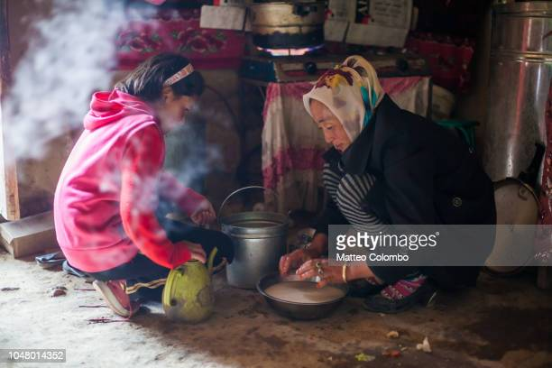mother and child preparing food inside the yurt, china - uygur culture photos et images de collection