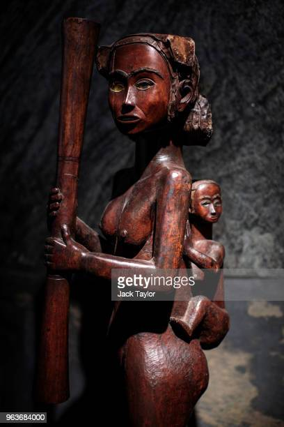 Mother and Child sculpture from Mabea Cameroon 1920's 1930's stands during a press preview at Summers Place Auctions on May 30 2018 in Billingshurst...