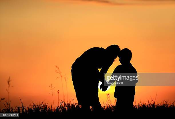 Mother and Child Silhouette in Rural Setting