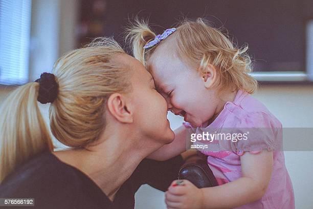 Mother and child together emotive moment