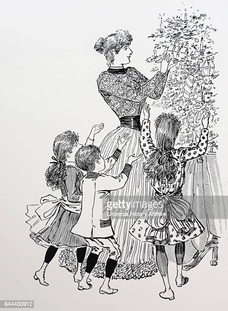 Mother and children handing out the presents from the Christmas tree Illustration by Mars' from 'The Queen' London 1891
