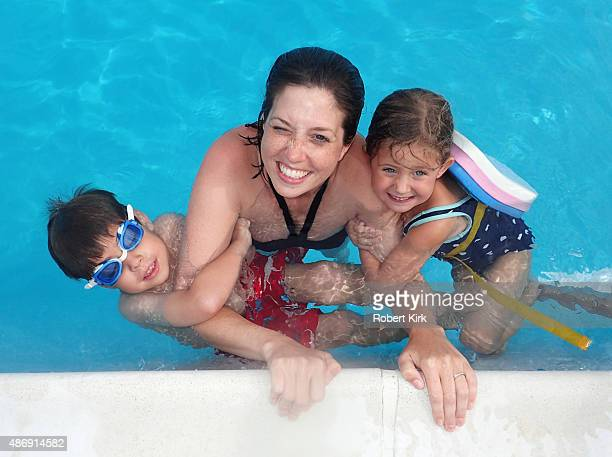 Mother and Children in a Pool