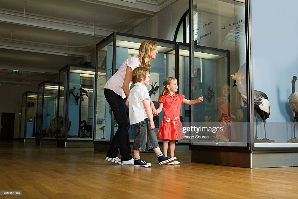 Mother and children looking at a museum exhibit : Stock-Foto