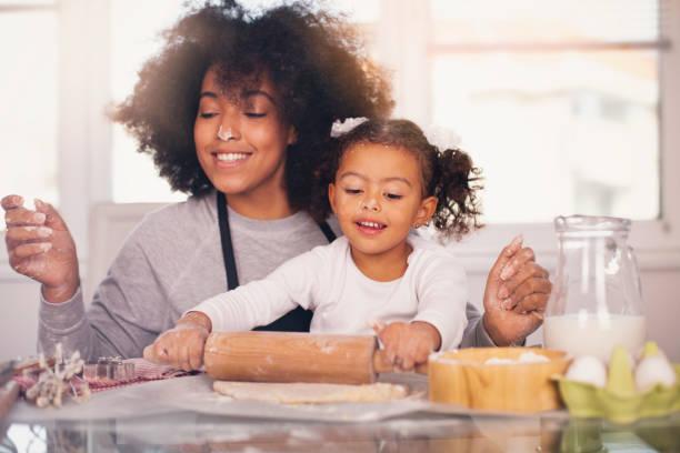 母女倆正在一起烤 - 焗 預備食物 個照片及圖片檔