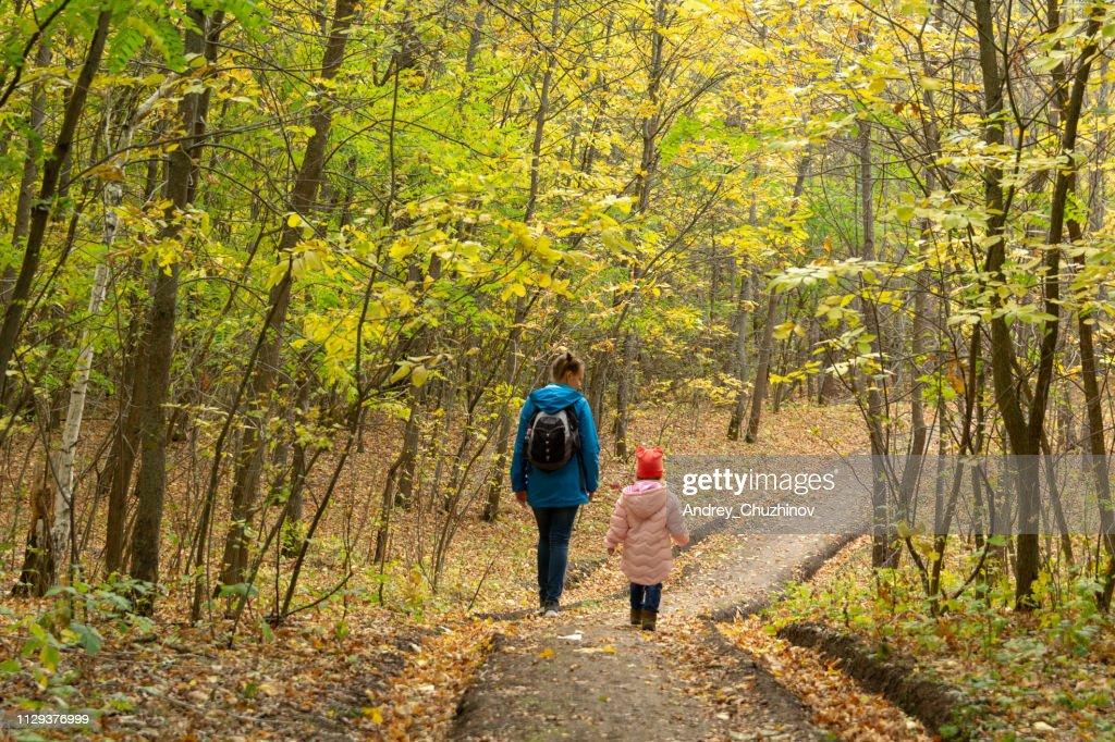 母と娘は秋の森で歩いています。 : ストックフォト