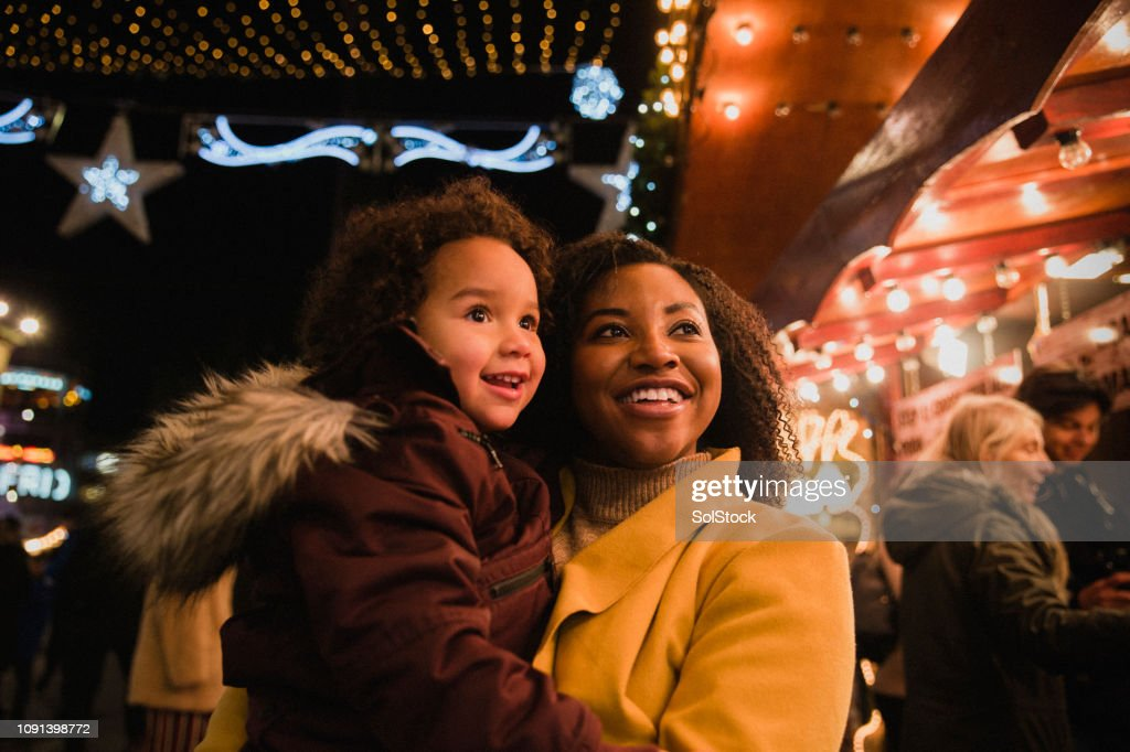 Mother and Daughter at Christmas Markets : Stock Photo