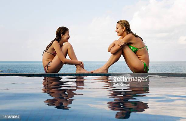 Mother and daughter at edge of pool
