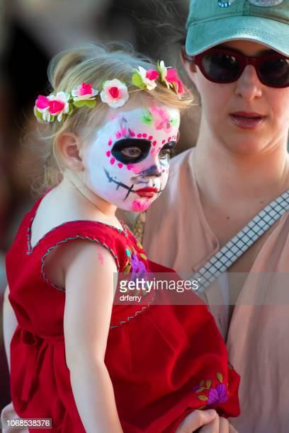 Mère et fille au Día de los Muertos Festival à Oaxaca