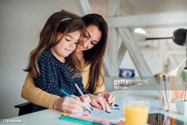 mother and daughter coloring - coloring stock pictures, royalty-free photos & images