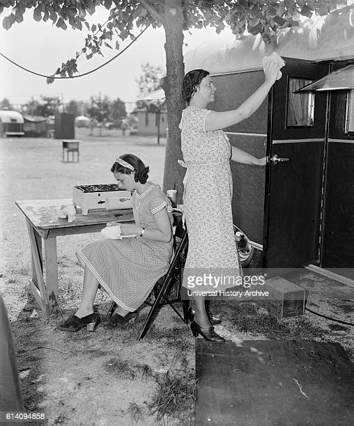 Mother and Daughter Doing Chores at Trailer Camp June 4 1937