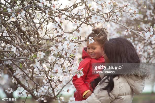Mother and daughter enjoying nature.