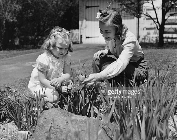 mother and daughter examining flower  - {{relatedsearchurl(carousel.phrase)}} stock pictures, royalty-free photos & images