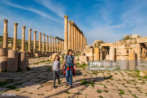 Mother and daughter exploring Jerash